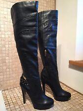 *RARE* RIVER ISLAND Black Leather Knee High Smart Platform Boots 6/39 *EXCLT*