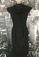 Cue Wool Blend Dress, Size 8, Office/Work Wear, Cowl Neck, Cap Sleeves
