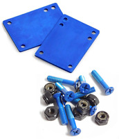 "Cal 7 Truck 1/8"" Skateboard Riser Pads Rubber Blue Color +1.5"" Hardware"