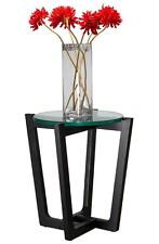 Sofia Side Table - Black Oak / Glass - Scandinavian Style Furniture - Round