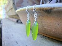 Green Sea Glass Fishbone Dagger Bead Silver Earrings Beach USA HANDMADE