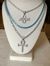 Set of 3 4mm Tennis necklace Silver and Blue with ankh cross & Jesus pendant