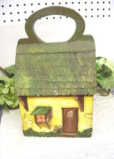 ANTIQUE HANDPAINTED WOODEN PURSE RAWLEIGH HOUSE W/ HANDLE MIRROR HINGED ROOF