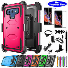 For Samsung Galaxy Note 9 8 S8 S9 + Rugged Phone Case Cover w/ Belt Clip Holster
