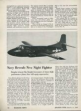 1948 Aviation Article Douglas Navy Sky Knight F3D Fighter Jet USN Specs Details