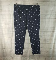 Old Navy Womens Pixi Ankle Pants Sz 12 Blue White Polka Dot Mid Rise