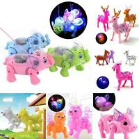 Electric Walking Musical Lighting Animals with Leash Kids Interactive Toy Gift