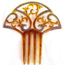 "Estate Old Vintage Art Deco Huge 5"" Blue Rhinestone Celluloid Hair Comb Jewelry"