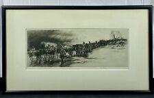 "Original Kerr Eby WWI Etching ""Artillery Train"" Pencil Signed & Framed Excellent"