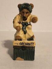Boyds Bears Bearware Pottery Ms Griz Saturday Night Porcelain Keepsake Box Nos