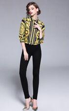 Elegant European Designer Vintage Style Baroque Print Women Blouse/Shirt Size S
