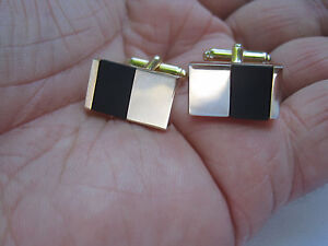 Anson Cufflinks and Tie Tack, Gold-Tone and Onyx, Great Design, New Old Stock