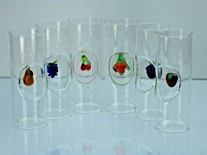 6er - Set Schnapsgläser mit Obst Miniaturen. Schottglas.
