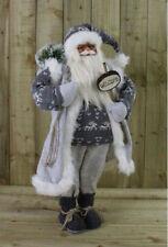 90cm Père Noël Debout Noël Père Noël Décoration Ornement Gris Doux