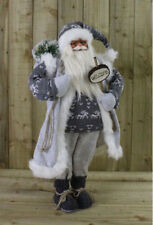 90cm Father Christmas Standing Xmas Santa Claus Ornament Decoration Grey Soft