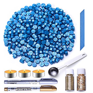 Blue Sealing Wax Beads, 300 Pcs Wax Seal Beads Kit with Spoon, Wax Seal for