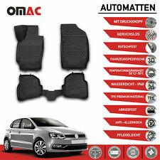 Fußmatten für VW Polo V 2009-2017 3D Passform Hoher Rand Gummimatten Schwarz