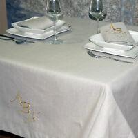 LUXE NAPPE DE TABLE EN LIN BEIGE DE QUALITÉ SUPÉRIEURE - MONOGRAMME PERSONNALISÉ