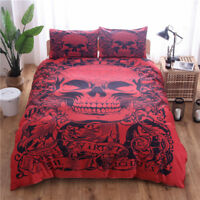 Red Skull Duvet Cover Set Twin Queen King Size Bedding Pillow Case Day of Dead