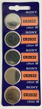 Strip of 5 Sony CR2032 3V Lithium Batteries Freshly Dated 2028 (ref to any 2032)