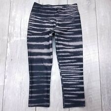 Nike Dri-Fit Womens XS Capri Leggings Cropped Pants Gray Black Zebra Print
