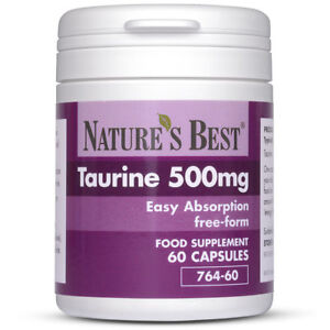Taurine 500mg | 60 capsules of Pharmaceutical Grade Free-Form Taurine