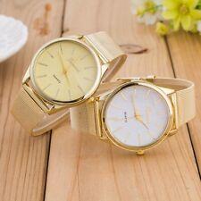 Geneva oversize watch for women with golden mesh band beige dial