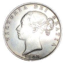 More details for 1846 queen victoria young bun head silver half crown xf