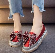 Womens Rhinestone Bowknot Round Toe Casual Shoes Pumps Loafers Flat Oxfords K193