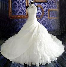 Organza luxury high-length trailing cathedral Muslim bride wedding dress custom