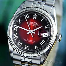 Rolex DateJust 18K WG Ruby Red Vignette Roman Dial Auto 36mm Mens 1601