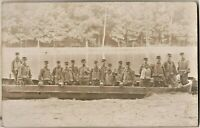 RIVER BARGE WW1 ARMY BOAT RARE IMAGE SOLDIERS MATERIAL ANTIQUE PHOTO POSTCARD
