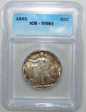 1945 Walking Liberty Silver Half Dollar, ICG MS66 HIGH GRADE, NICE!