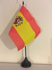 """SPAIN WITH CREST TABLE FLAG 9"""" X 6"""" 22.5cm x 15cm flags SPANISH"""