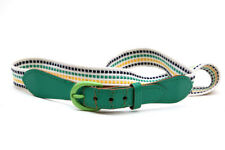 Genuine Green Vintage Leather and Fabric Belt 70s