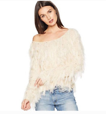 Romeo and Juliet Couture Knitted Eyelash Sweater Ivory Size S 1422
