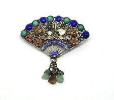 Antique Chinese Jade Gold Gilt Silver Filigree Fan Enamel LOVE BIRDS Brooch Pin