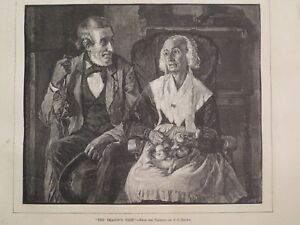 The Deacon's Visit Elderly Pair Socializing Rustic Domestic Setting 1882