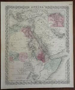 East Africa Egypt Sudan Abyssinia Ethiopia Somalia Nile River 1873 Colton map