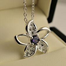 925 Sterling Silver Plated Purple Clear CZ Crystal Flower Pendant Chain Necklace
