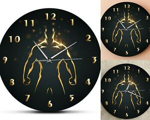 Strength Training Clock Sport Art Gym Wall Clock Fitness Body Building Man Watch