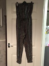 Newlook Strapless Aztec Patterned Cuffed Jumpsuit Size 8 Vgc