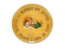 Piatto di legno Piastra con detto Dipinto mano Russia a 1900 Russia