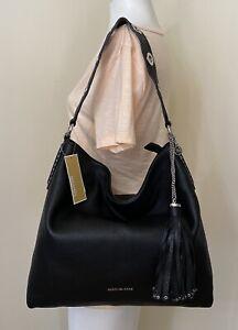 MICHAEL KORS Brooklyn Large Leather Shoulder Bag in Black SV