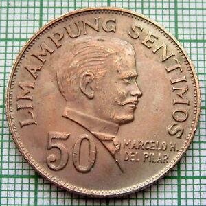 PHILIPPINES 1972 50 SENTIMOS, MARCELO H DELPILAR, AUNC