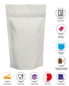 WHITE MATT STAND UP POUCH FOIL COFFEE MYLAR POUCH ZIP LOCK HEAT SEAL BAG