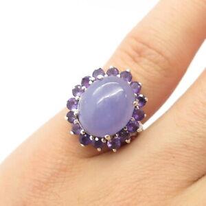 925 Sterling Silver Vintage Real Lavender Jade & Amethyst Gem Ring Size 5 1/4