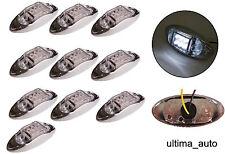 10x 12V 6 LED SIDE CHROME MARKER WHITE CLEAR LIGHTS LAMPS TRAILER HORSEBOX VAN