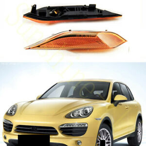 2x For Porsche Cayenne 2010-14 Yellow Left+Right Turn Signal Lamp Cover No Bulbs