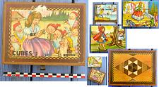 Jeu de 12 cubes ancien Garnier Made in France, contes célèbres